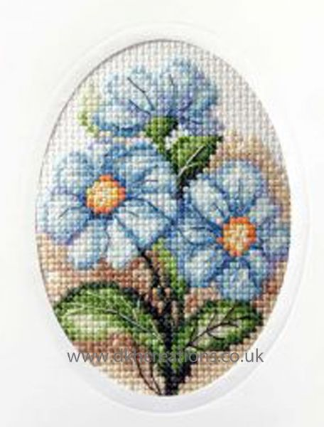 Blue Flowers Greeting Card Cross Stitch Kit